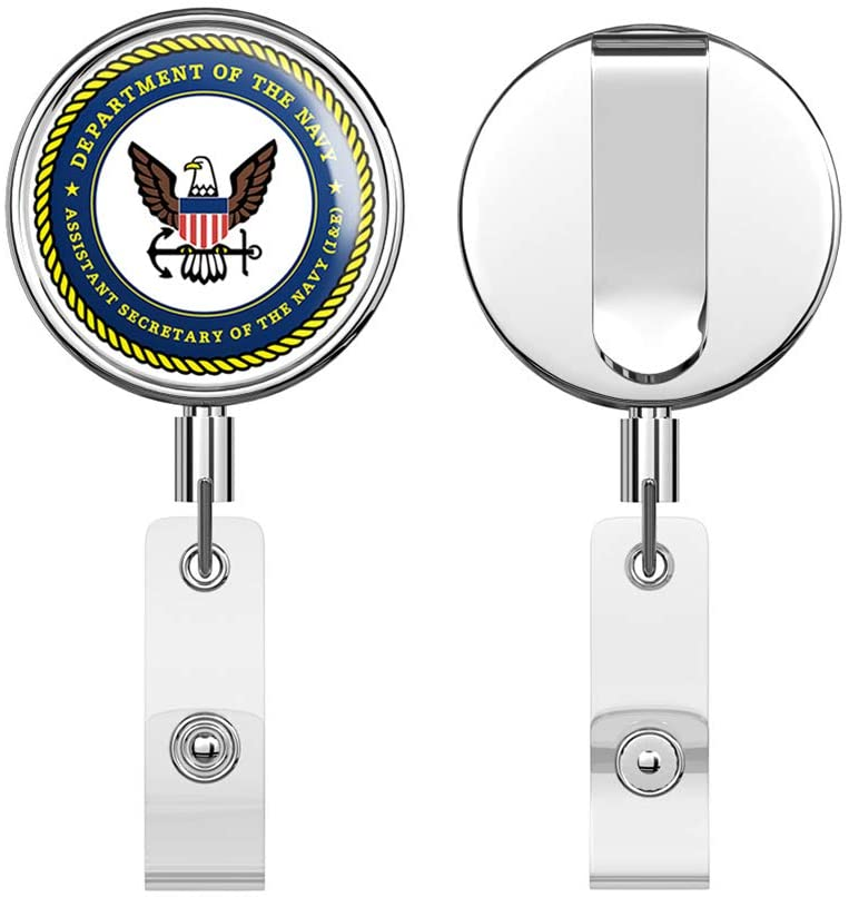 US Navy Assistant Secretary of The Navy Round ID Badge Key Card Tag Holder Badge Retractable Reel Badge Holder with Belt Clip
