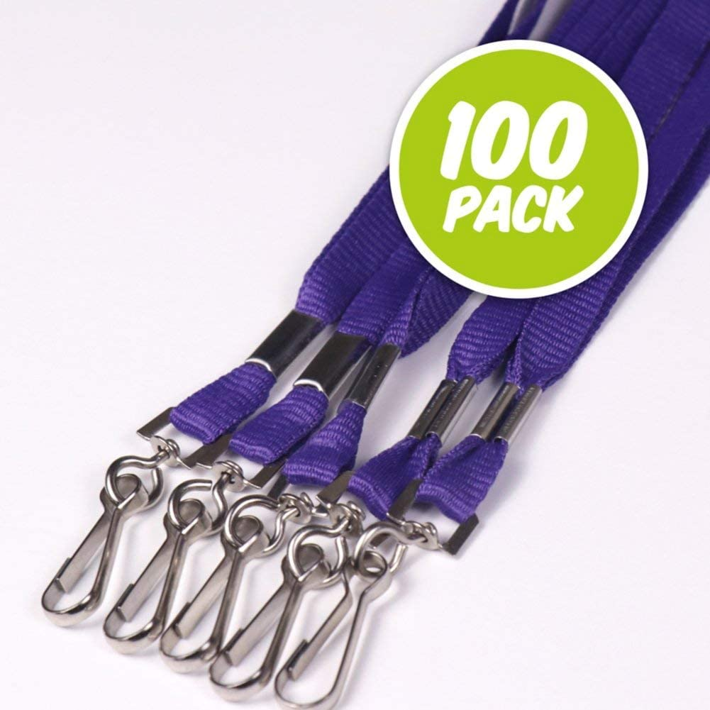 Purple Flat Woven Polyester Lanyards - Metal Swivel J-Hook for Holding ID Badges - 36 inches - 100 Pack