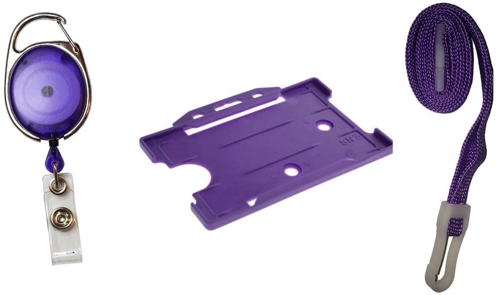 ID Card It Purple ID Card Pass Badge Holder, Lanyard and Premier Yo-Yo Badge Reel - 1