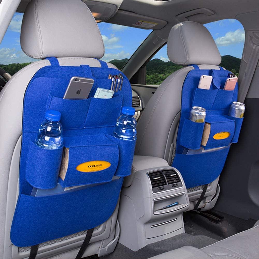 BININBOX Car Backseat Organizer Felt Pocket Protector Kick Mat Auto for Baby Kids Travel Accessories Toy Bottle Storage (Blue)