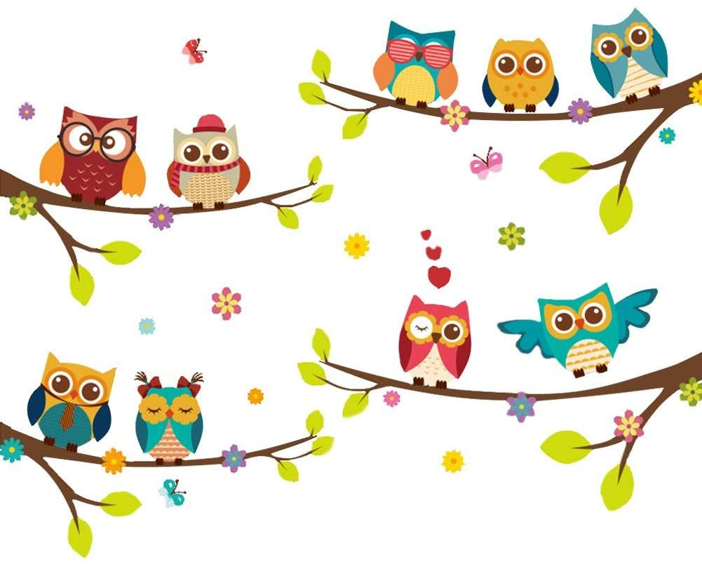 isilky Wall Stickers of Tree Owls Wall Decals for Kids Rooms Nursery Baby Boys & Girls Bedroom