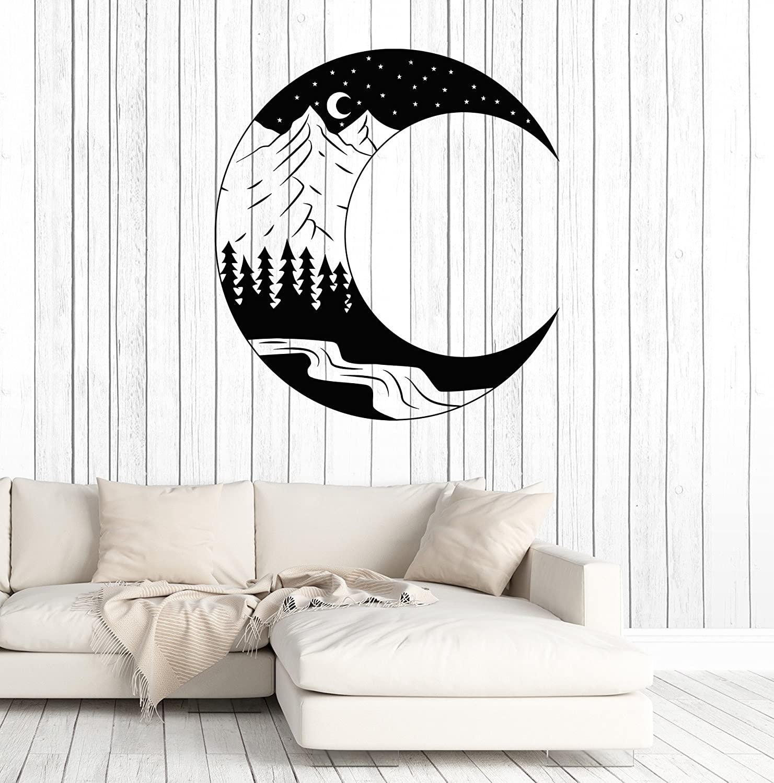 DesignToRefine Vinyl Wall Decal Moon Landscape Forest Mountain Art Nature Stickers Large Decor (1402ig) Black