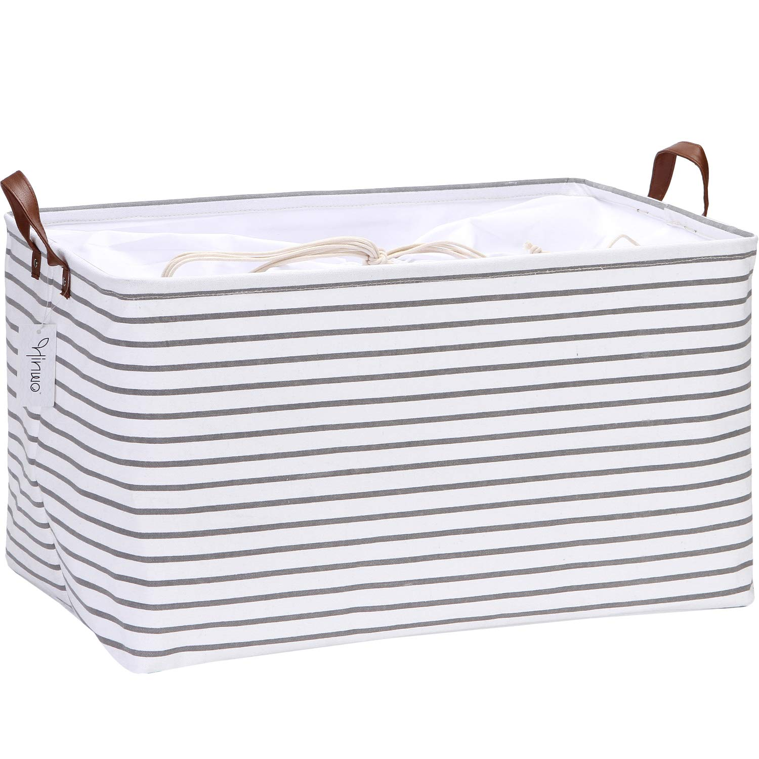 Hinwo 70L Extra Large Capacity Storage Basket Canvas Fabric Storage Bin Collapsible Storage Box with PU Leather Handles and Drawstring Closure, 22 by 15 inches, Waterproof Inner Layer, Grey Stripe