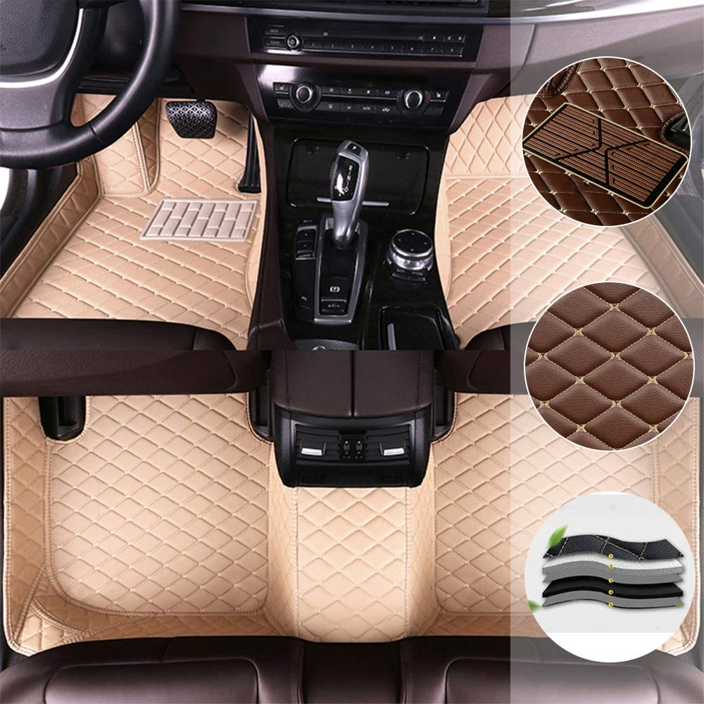 saitake Car Floor Mats for Ford Mustang 2010-2014 All Full Coverage Liner All Weather Waterpoof Non-Slip Leather Heavy Duty Custom Front Rear Mat Left Drive Beige