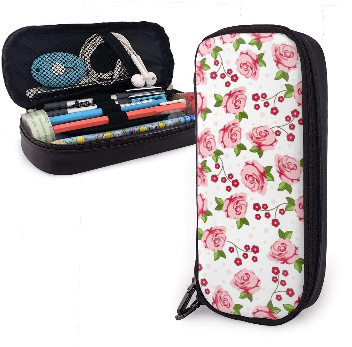 Polyester Pencils Holder with Zipper One Pocket Pencil Pouch Bag for Office Supply Accessories for Teen Student Kids Artist Pink Rose Flower Storage Pouch