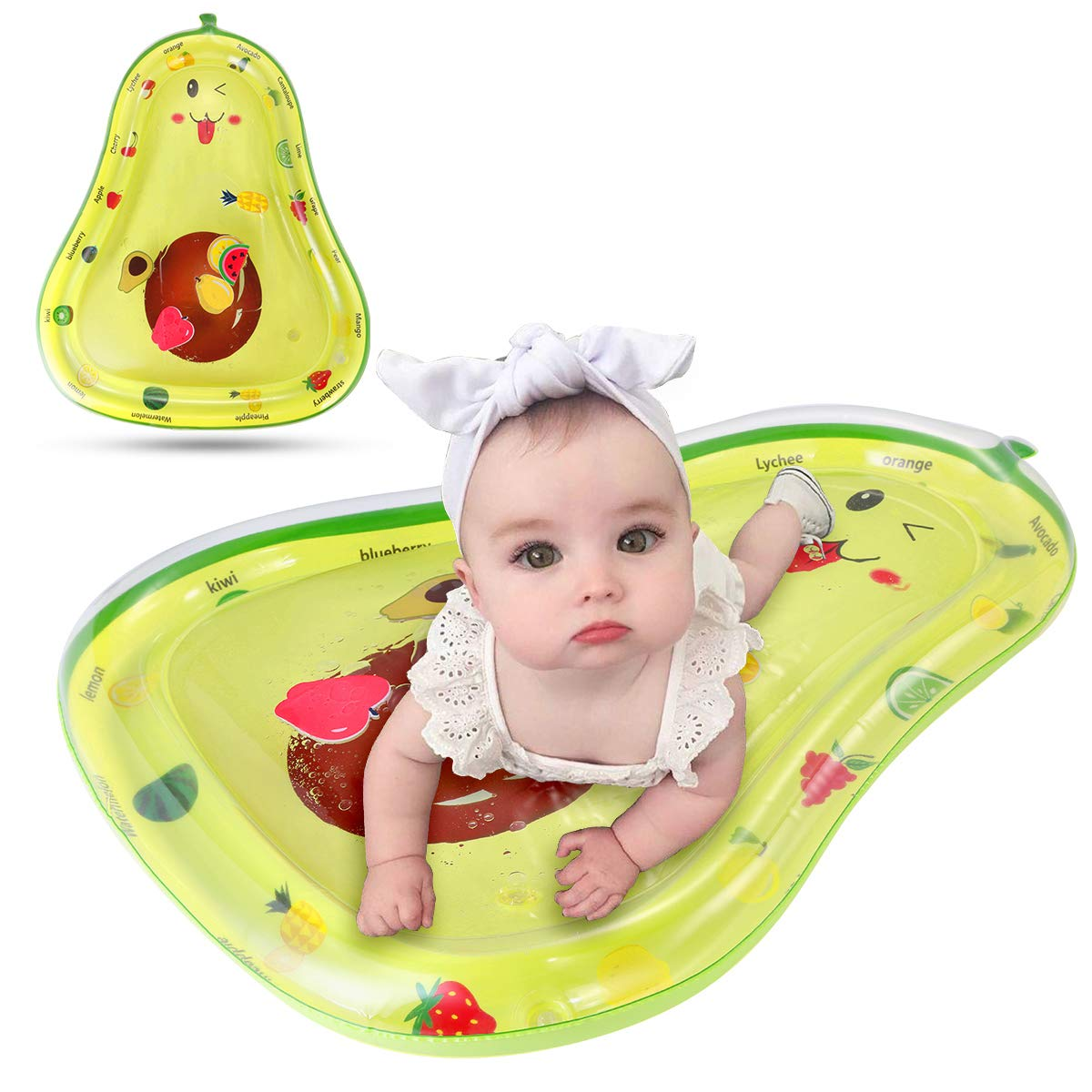 ROSEBEAR Baby Tummy Time Infant Water Mat, Activity Center Avocado Shape Inflatable Play Mat Toy with 6 Floating Toys