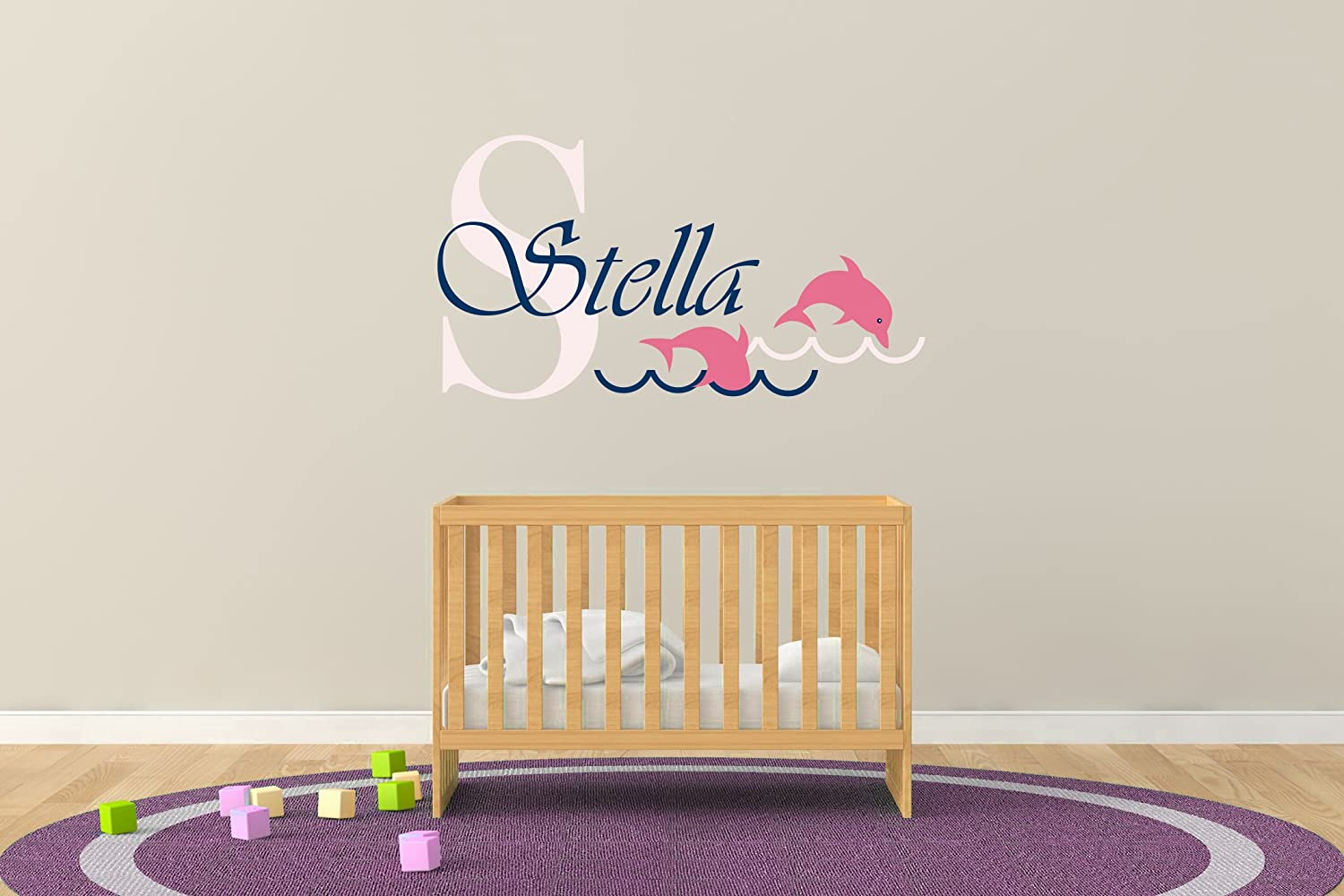 Custom Name & Initial Dolphins And Waves - Animal Series - Baby Girl - Nursery Wall Decal For Baby Rom Decorations - Mural Wall Decal Sticker For Home Children's Bedroom (R36) (Wide 22