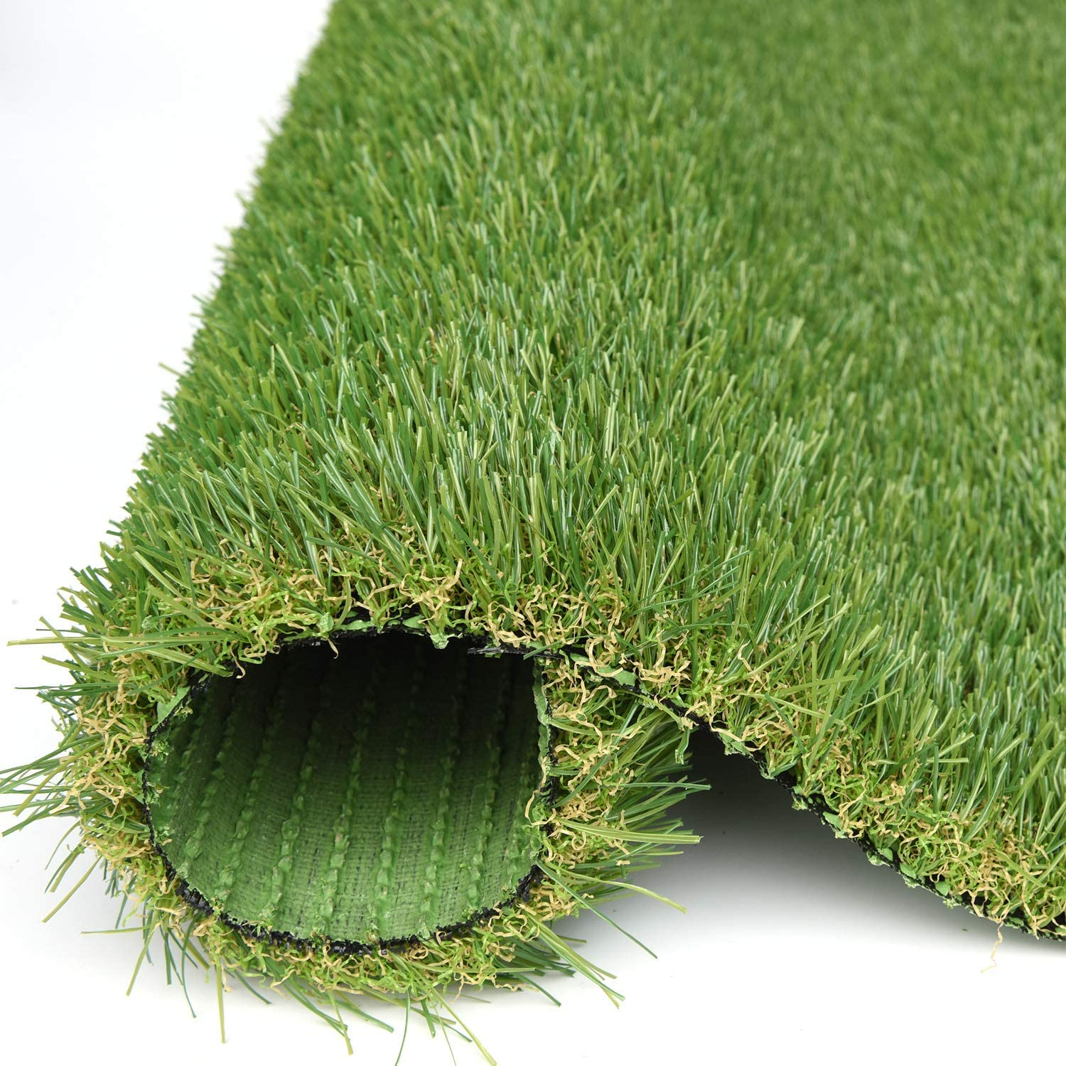 RoundLove Artificial Grass Turf, 4 Tone Synthetic Grass Patch Mat w/Drainage Holes, Lush & Hard Pet Turf Astroturf Rug, Fake Turf for Indoor & Outdoor Decor 24X20in