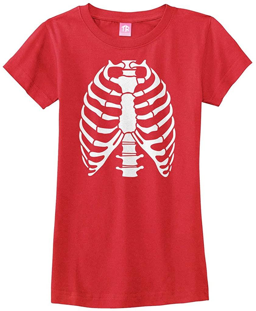 Threadrock Big Girls' Skeleton Rib Cage Halloween Costume Fitted T-Shirt