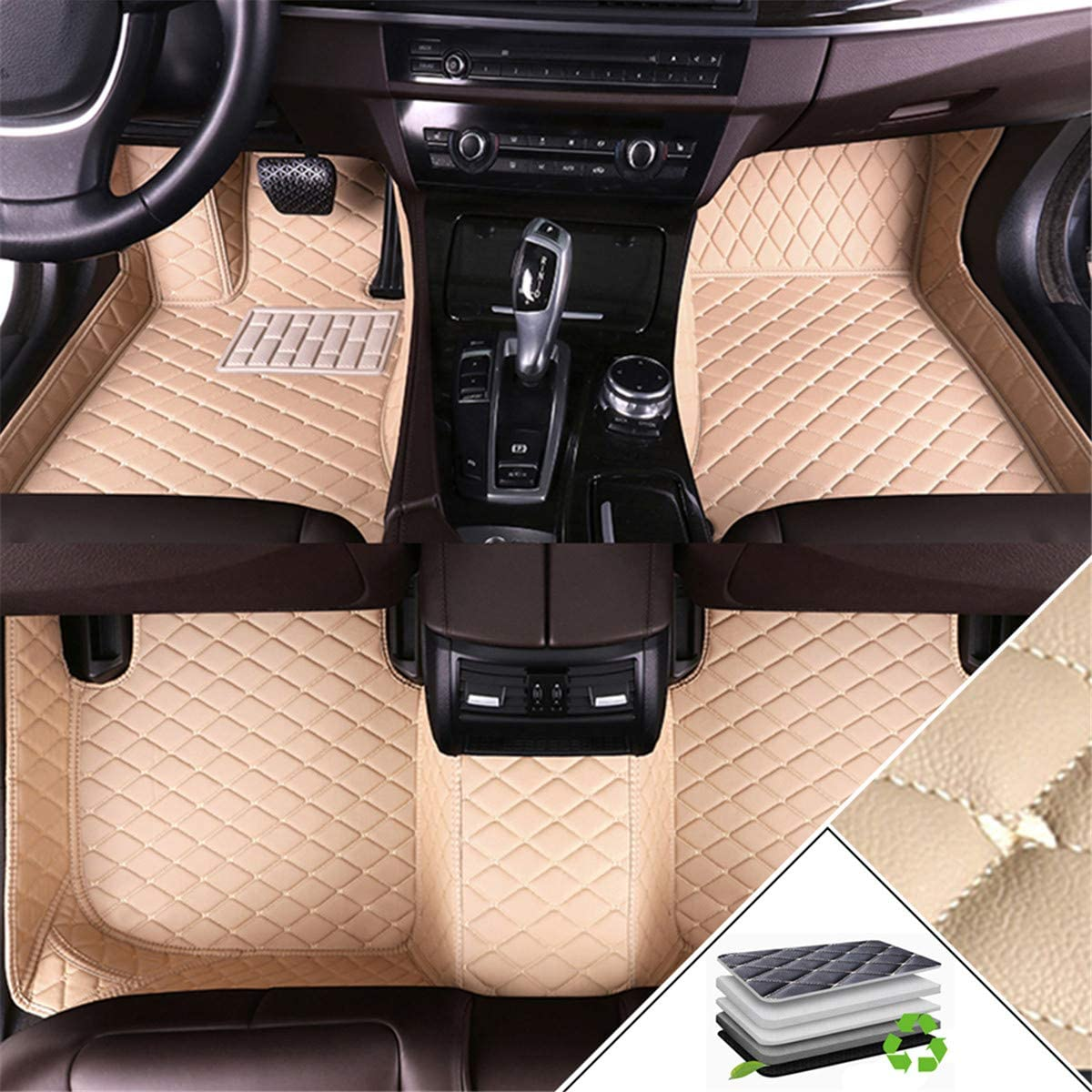 Handao-US Custom Car Floor Mats for Acura MDX 2007-2013 All Weather Non-Slip Full Coverage Protection Luxury Leather Car Liner Set Beige
