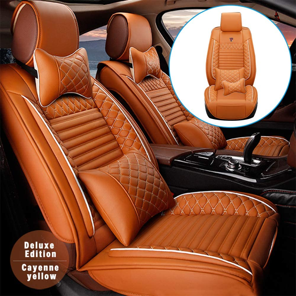 All Seasons PU Leather Car Seat Cover for Subaru Crosstrek Crosstrek Hybrid XV Crosstrek XV Crosstrek Hybrid with Headrest & Backrest & Breathable Cushions Compatible with Airbag Cayenne