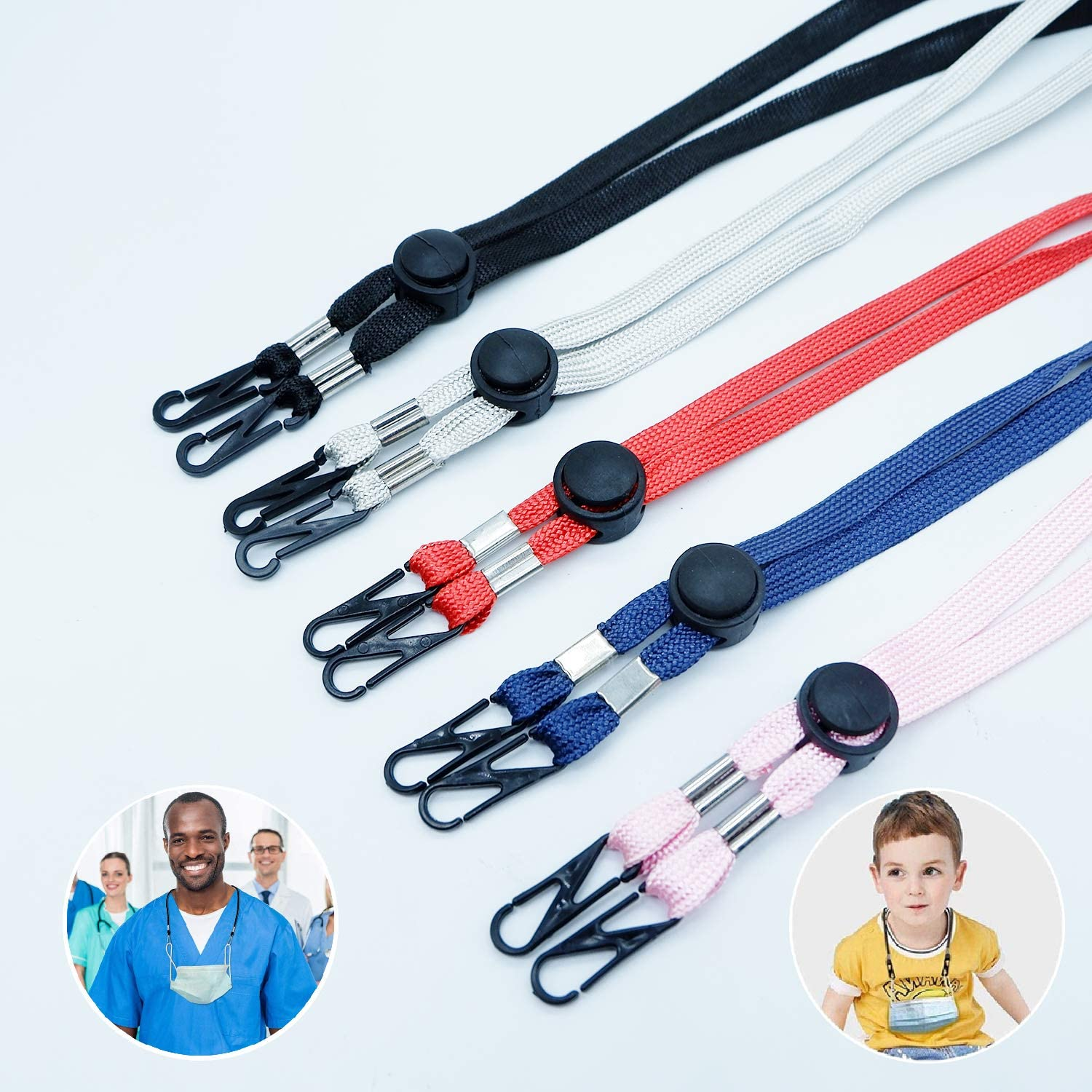 Face Mask Lanyard with Clips for Kids Women, Child Lanyard Breakaway for Mask, Adjustable Mask Ear Strap for Ear Pressure Relief 5 Pack
