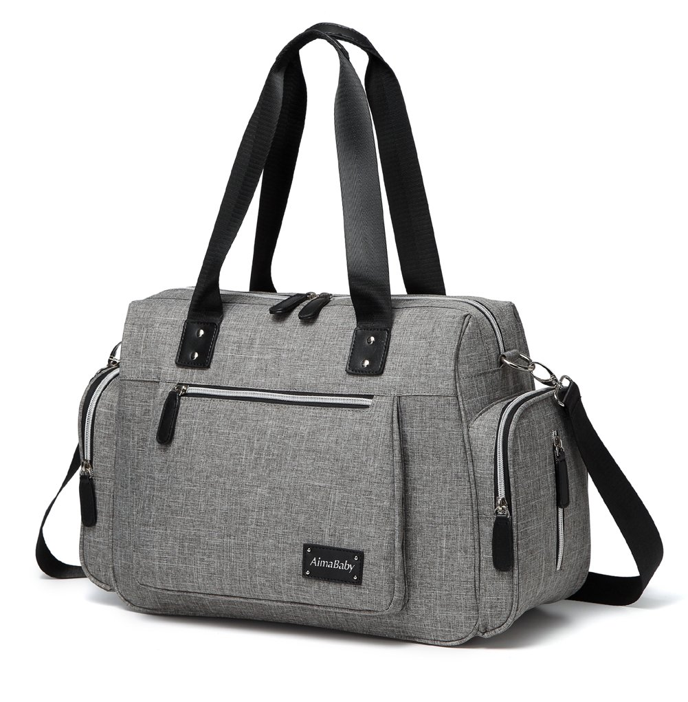 Stylish Multi-Function Tote Messenger Baby Diaper Bag with Changing Pad Grey