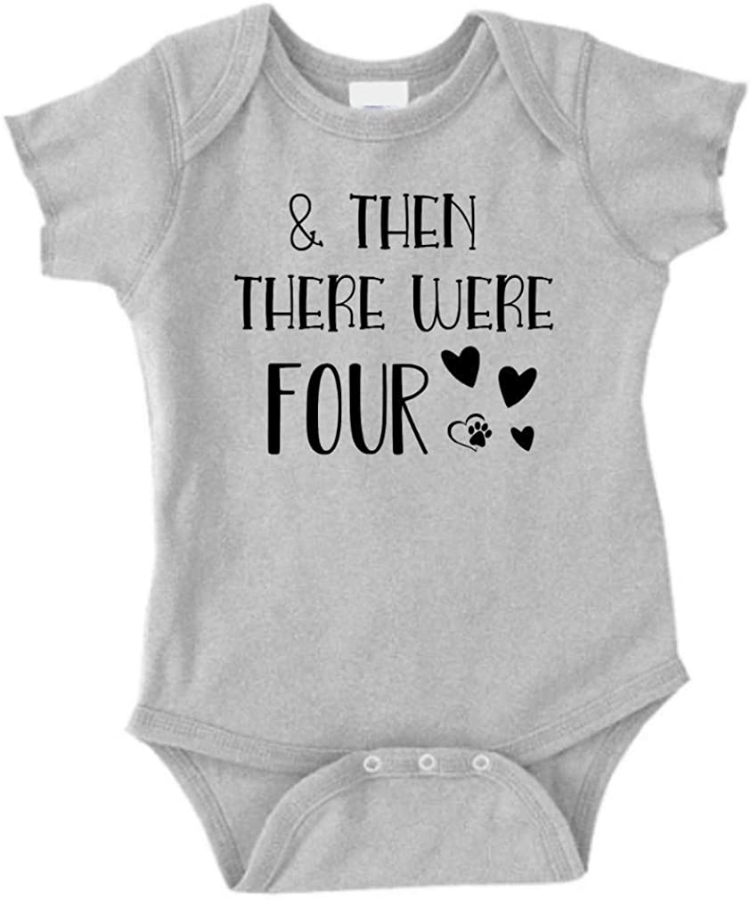 Pregnancy Announcement Onesie Size 0-3 Months: & Then There were Four Baby Announcement for Family Romper Gray. Baby Boy Girl and Then There were Three Instagram Baby Announcement Idea