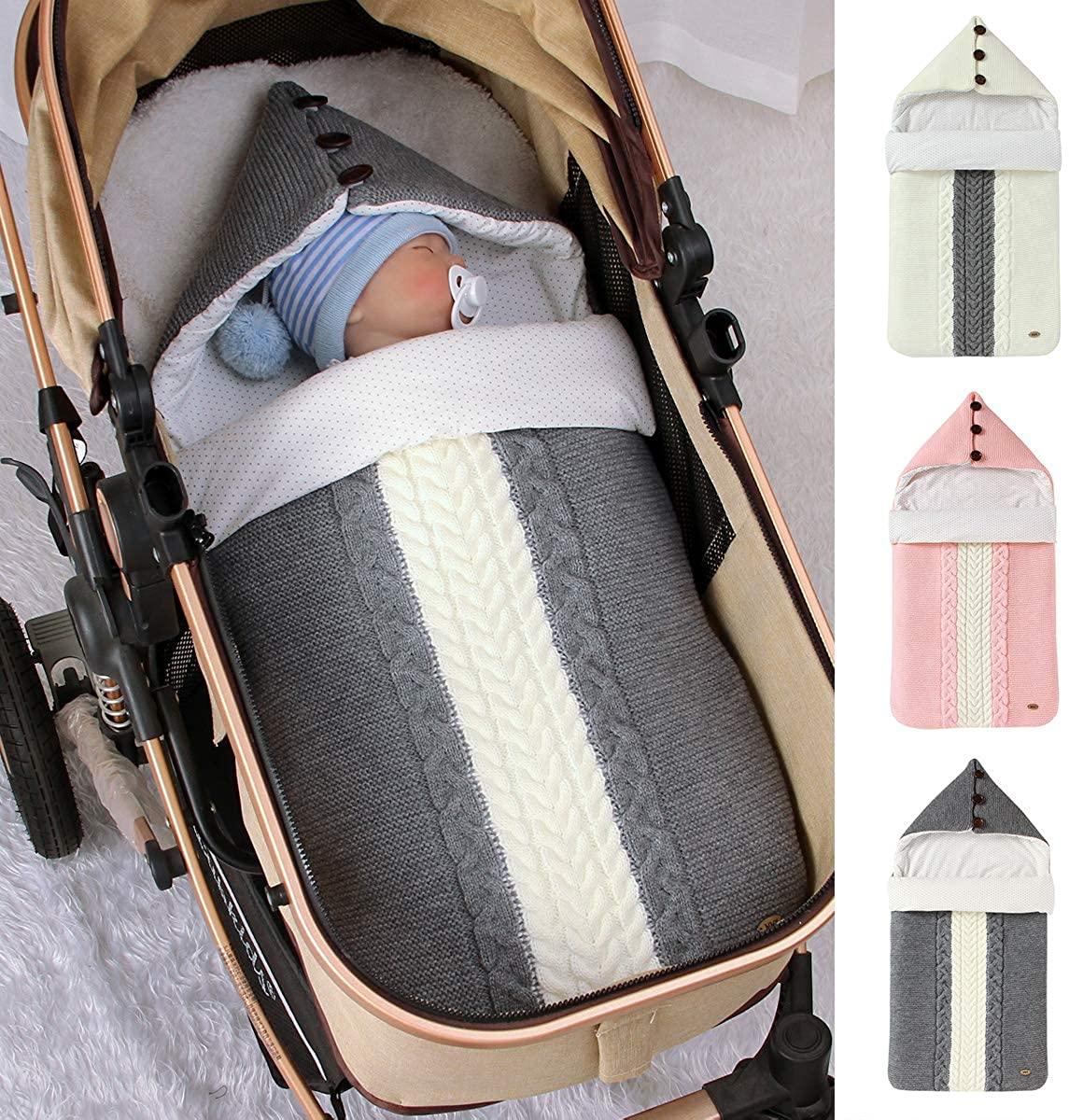 Newborn Baby Swaddle Blanke Stroller Wrap Warm Sleeping Bag Infant Soft Hooded Knit Sleeping Sack for 0-12 Month Boys Girls(Beige)