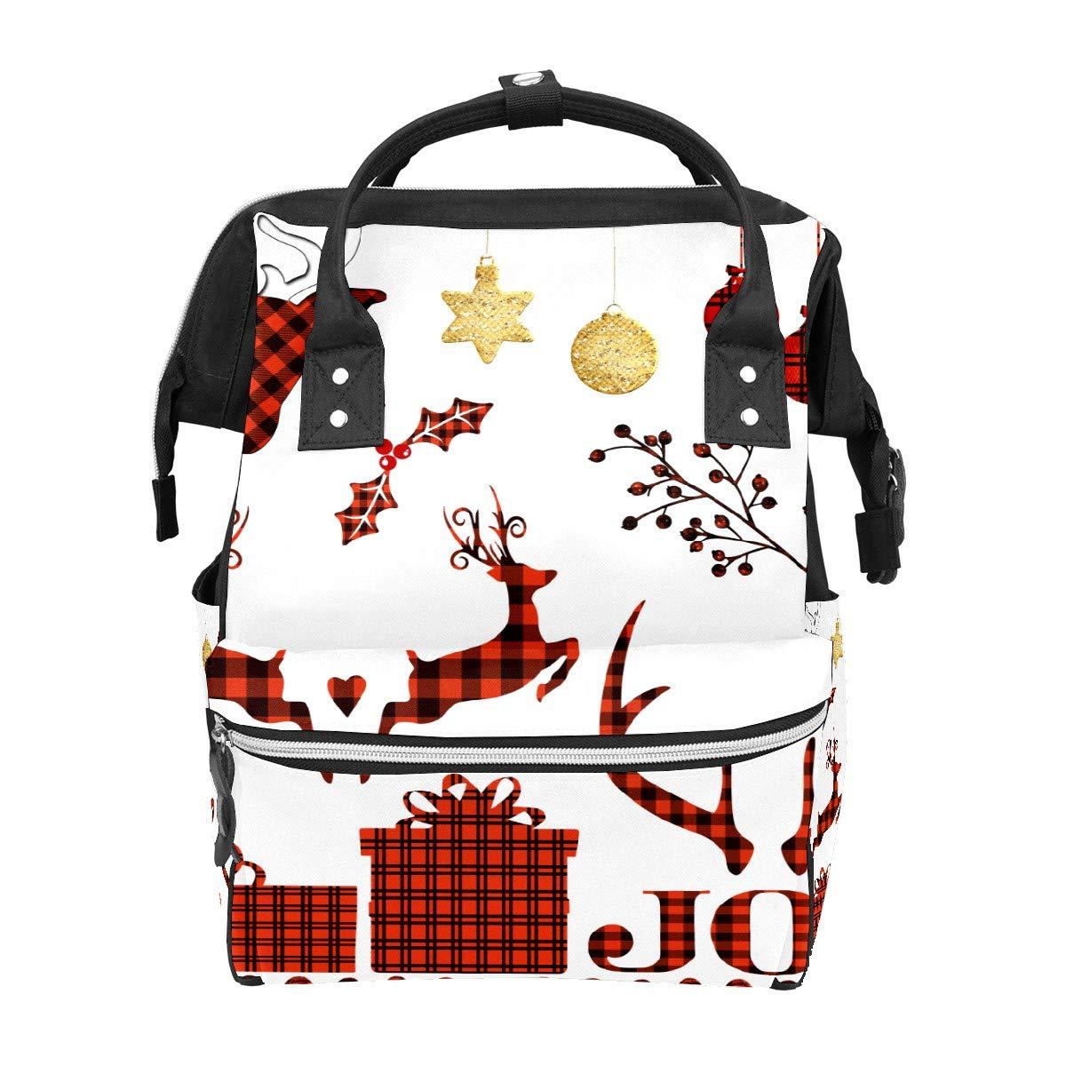 Diaper Bag Backpack Buffalo Plaid Elk Christmas Deer Multifunction Travel Back Pack Baby Changing Bags Large Capacity Waterproof Stylish