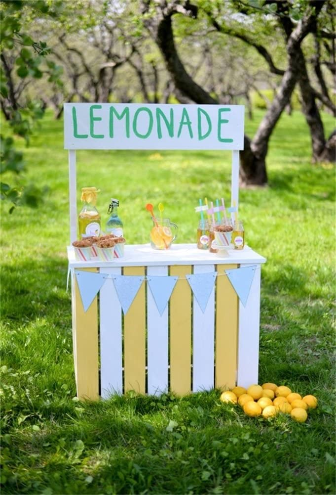 DaShan 3x5ft Photography Backdrop Lemonade Stand on Green Grass Spring Photo Background Backdrops for Photography Photo Shoot Party Adults Kids Wedding Portrait Polyester Photo Studio Props