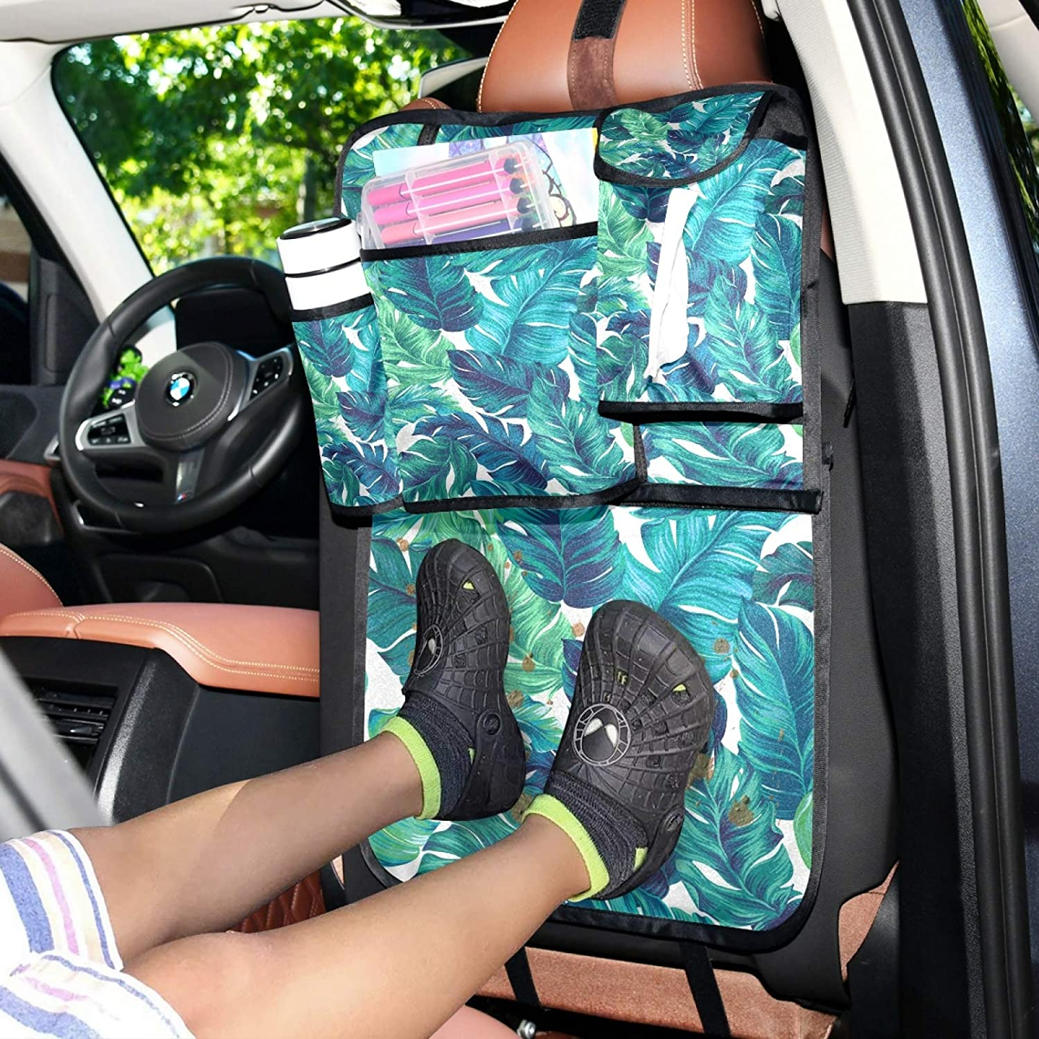 WELLDAY Car Backseat Organizer Blue Green Palm Leaves Trunk Storage Travel Accessories Pockets Kick Mats Protector for Kids Toddlers 1PCS