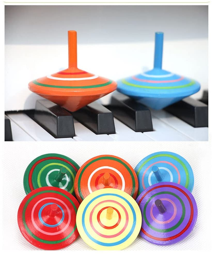 Novelty Wooden Colorful Spinning Top Kids Wood Childrens Party Toy