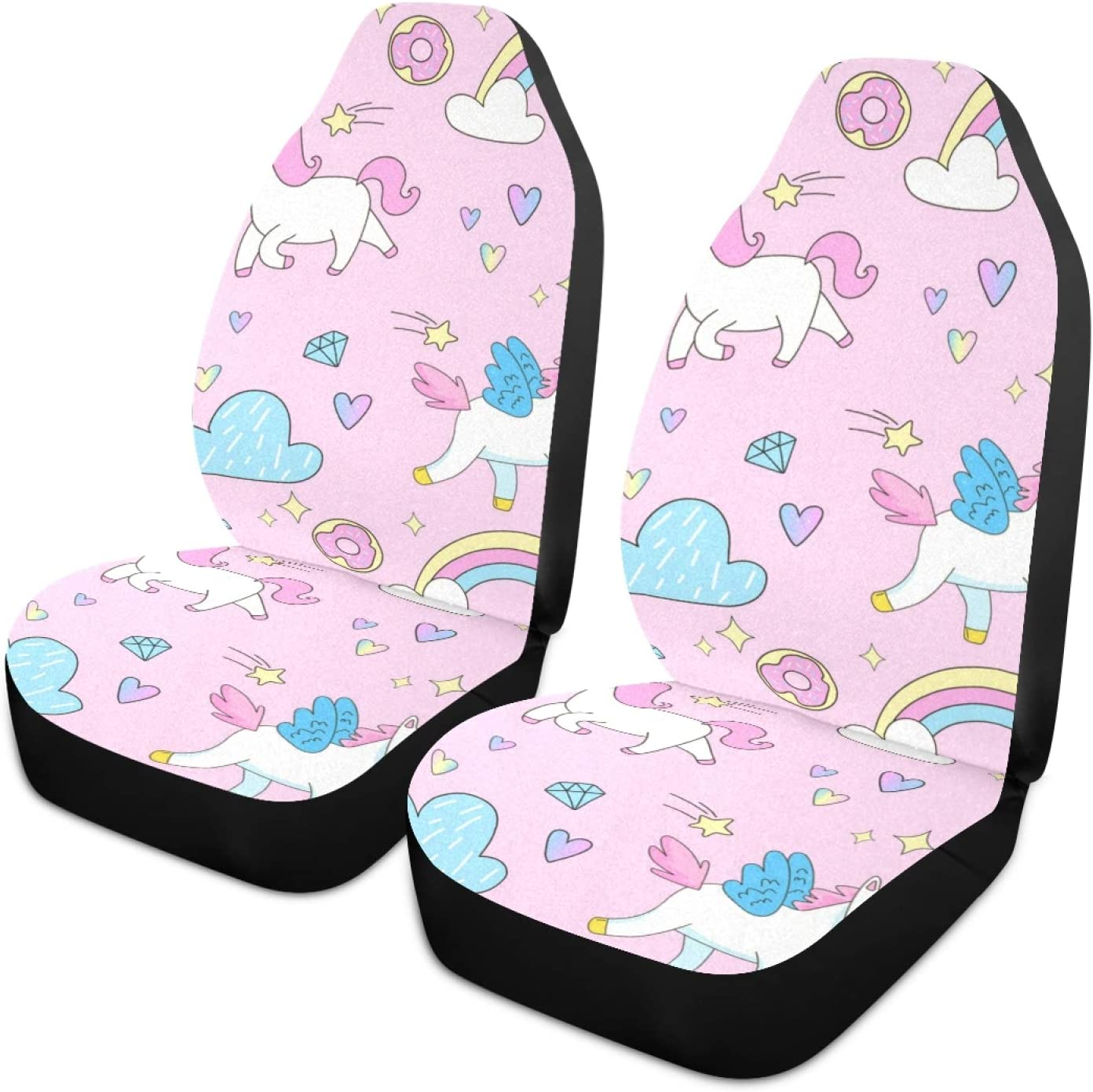 Moudou Unicorn Car Seat Cover Breathable Front Car Seat Cover Vehicle Seat Protector Fit Most Cars, SUV, Truck and Van, 1pc