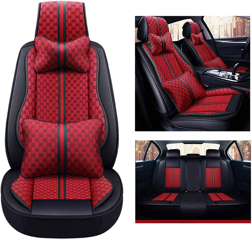 NaDrn Leather Seat Covers for SUV Car Auto Seat Covers Cushion Protector Pad Breathable PU Leather Waterproof Seat Cover for Most of 5 Seat Car, Airbag Compatible,Red11pcs