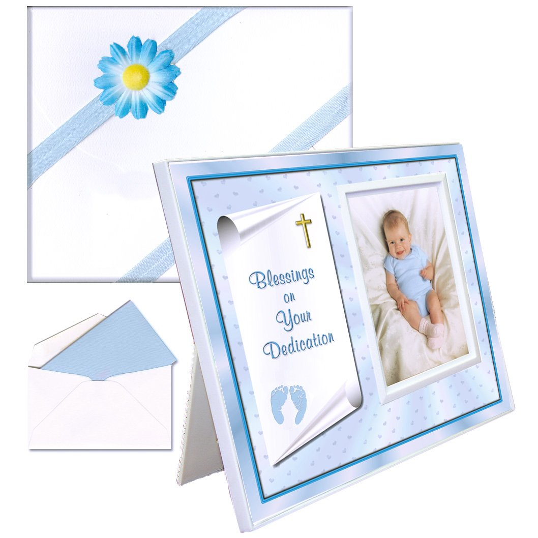 Dedication Gift for Baby Boy | Cute Picture Frame | Affordable, Colorful | Holds a 3.5 x 5 Photo | Innovative Front-Load Design | BlueFrame Blessings Theme