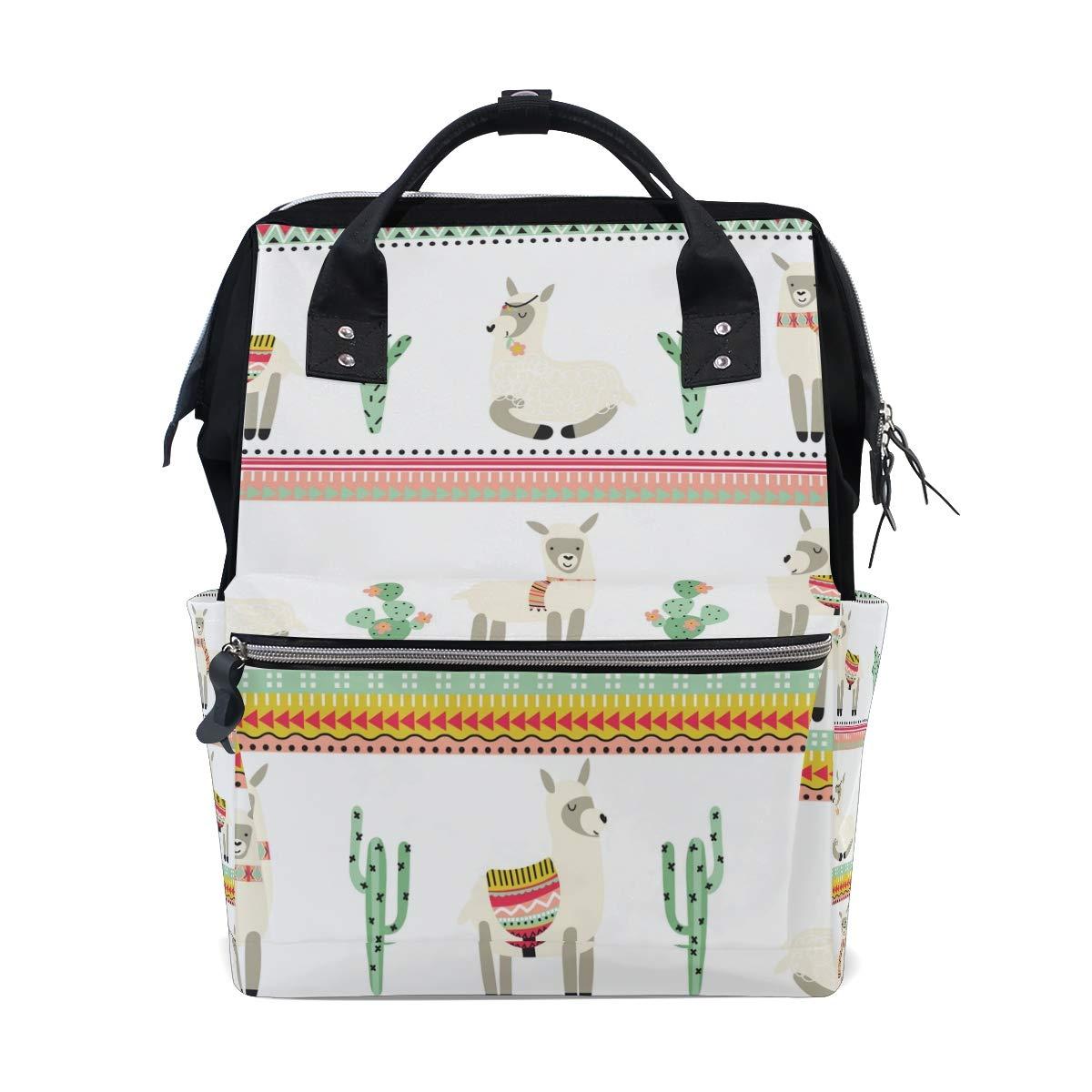 MERRYSUGAR Diaper Bag Backpack Cute Llama Alpaca White Baby Bag School Backpack Mommy Bag Large Multifunction Travel Bag