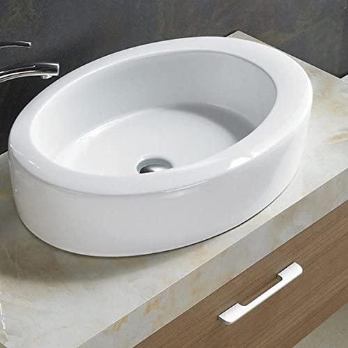 Bathroom White Ceramic Porcelain Vessel Vanity Sink 7858 +FREE Chrome Pop Up Drain