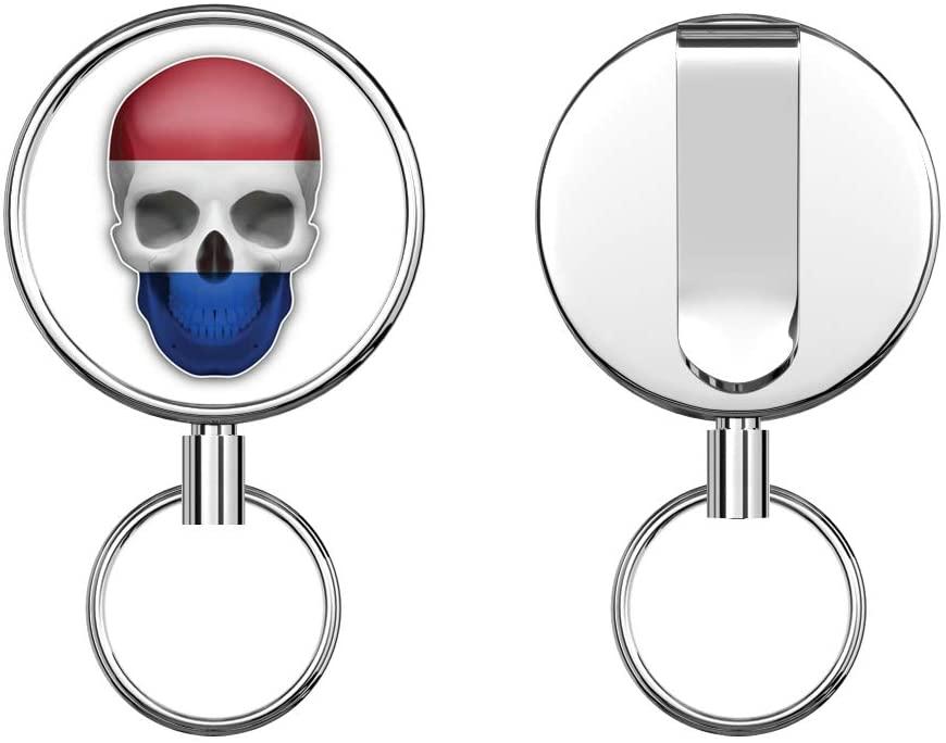 Netherlands Flag Skull Round ID Badge Key Card Tag Holder Badge Retractable Metal Reel Badge and Key Holder with Belt Clip