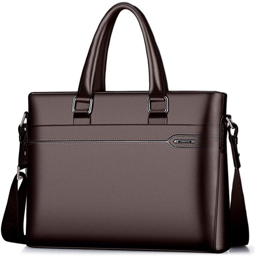 LAORENTOU Men's Genuine Leather Briefcase Business Handbag 14 Inch Laptop Bag (Alaska brown)