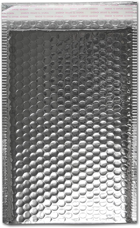Bubble Mailer Padded Envelopes, Self Adhesive Sealing Strip, 13.75 x 11 Inch, Silver Metallic, 500 Pack