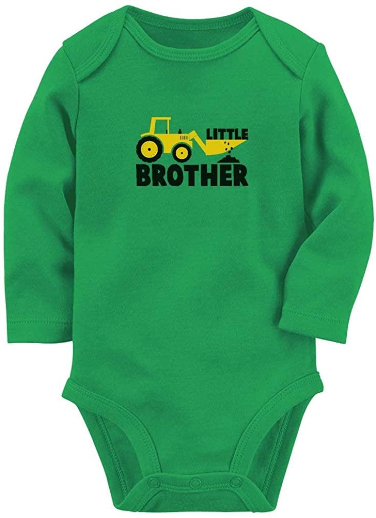 Little Brother Tractor Loving Boys Baby Long Sleeve Bodysuit