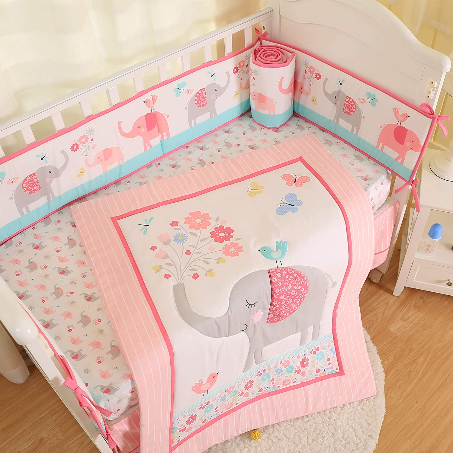 Brandream Pink Elephant Crib Bedding Sets for Baby Girls | 3 Piece Nursery Set | Crib Comforter, Fitted Crib Sheet, Crib Skirt Included with Garden Birds Floral Design