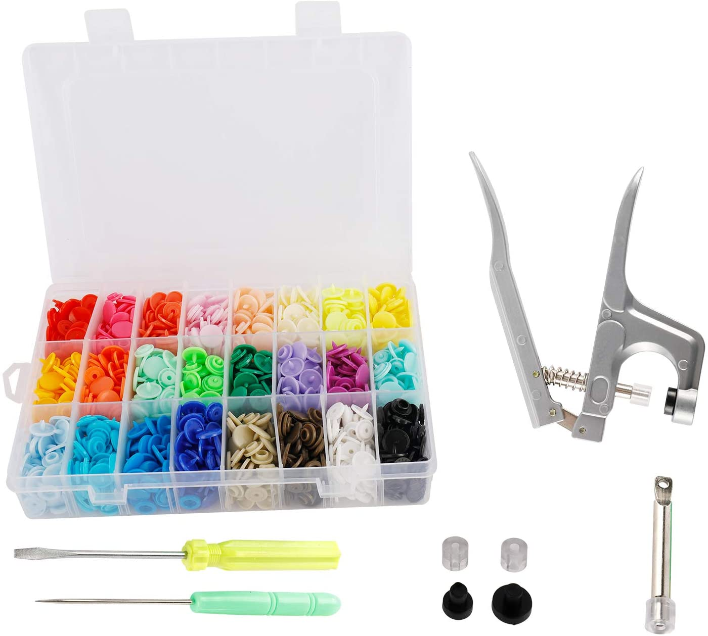 HYDDNice Snap Fastener kit 360PCS T5 Plastic Snap Buttons with Pliers and Organizer Storage Containers for Sewing and Crafting