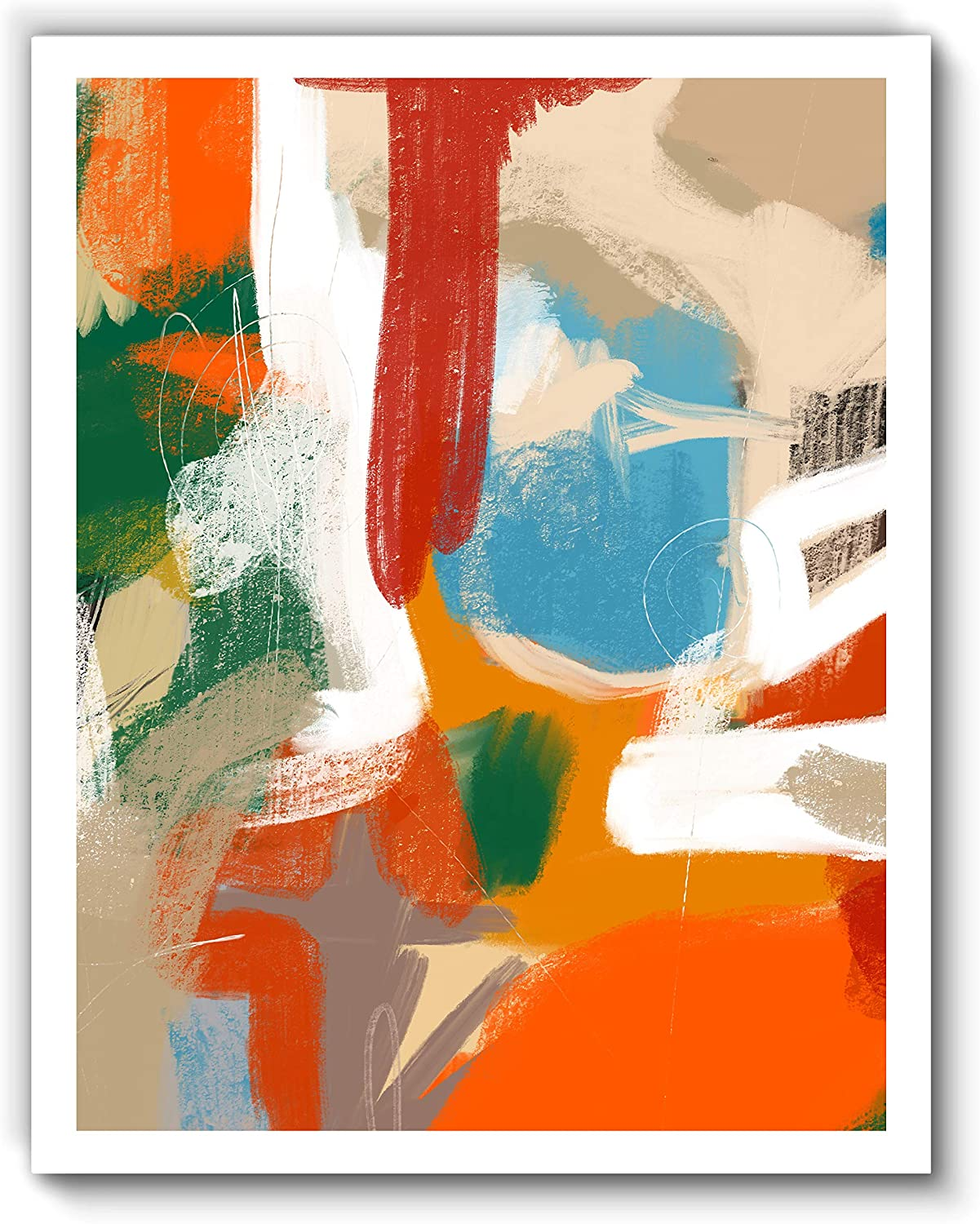 Printsmo, Summer Rain, Colorful Original Abstract Modern Contemporary Art Print, Minimalist Wall Art for Bedroom and Home Decor, Boho Art Print Poster, Wall Decor 11x14 Inches, Unframed