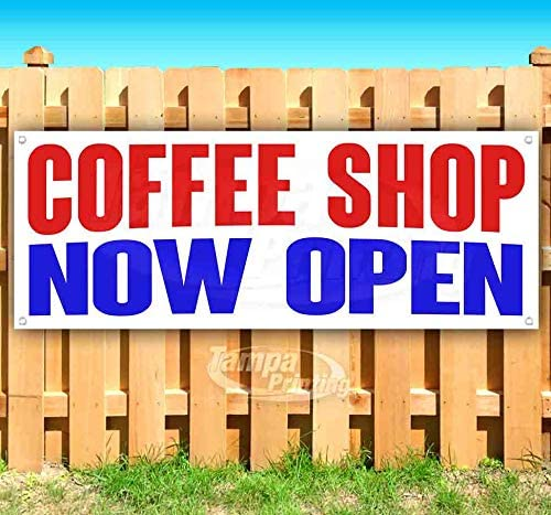 Coffee Shop Now Open 13 oz Heavy Duty Vinyl Banner Sign with Metal Grommets, New, Store, Advertising, Flag, (Many Sizes Available)
