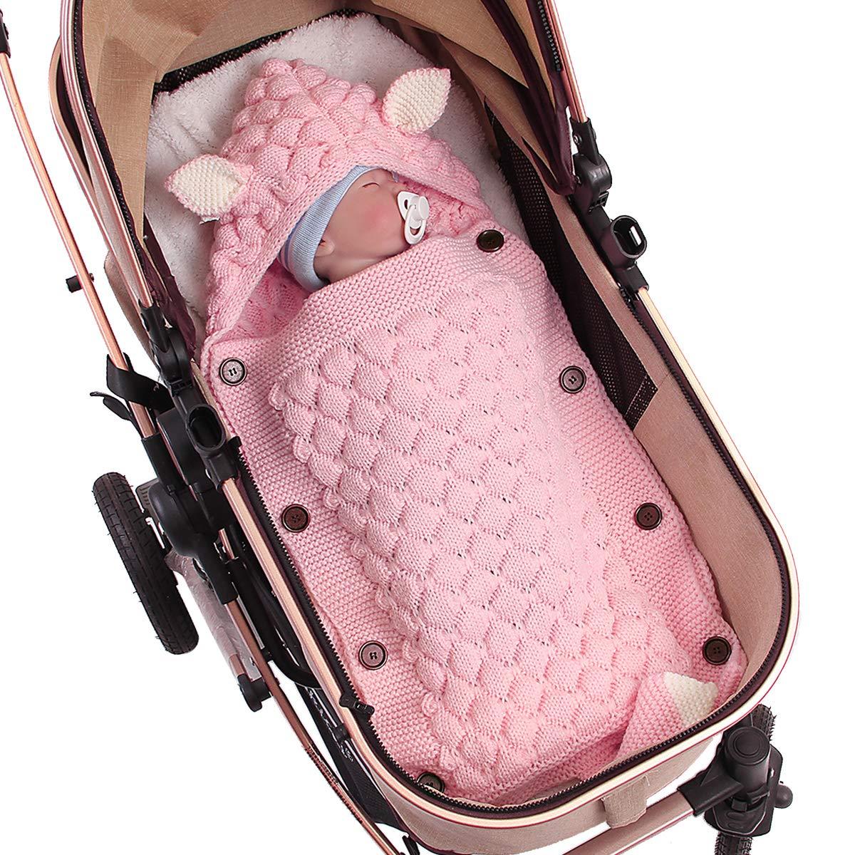 NCONCO Baby Knit Sleeping Bag, Swaddle Blanket Hooded Stroller Wrap for 0-12 Months Newborn Infant