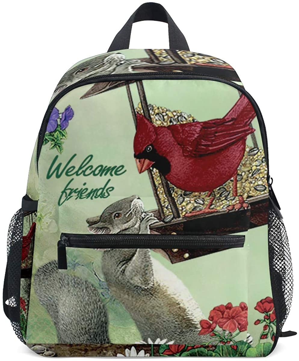 Upgraded Backpack for School Teenagers Girls Boys Cardinal Bird & Squirrel Travel Bag with Chest Buckle and Whistle(o)