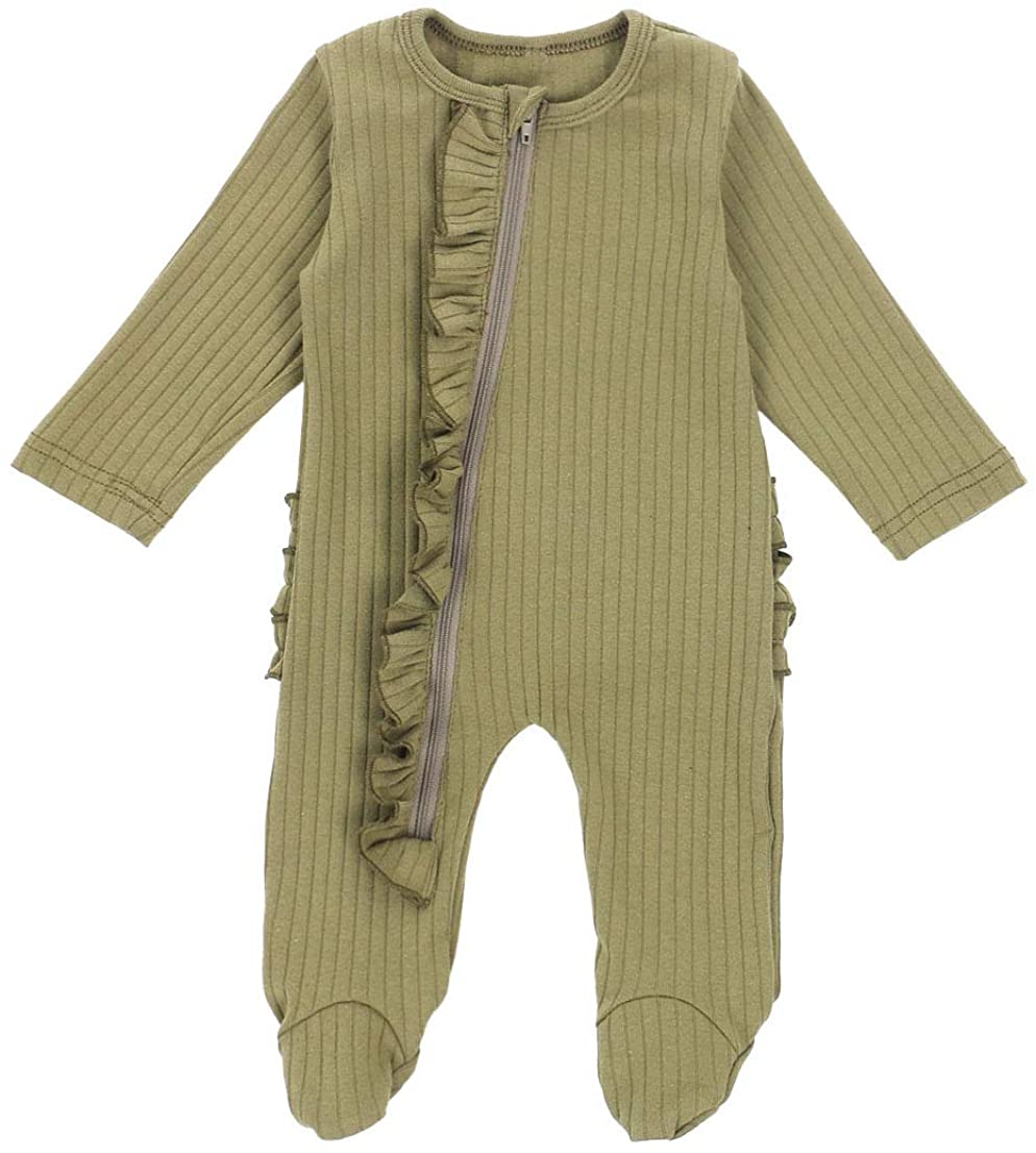 Newborn Baby Unisex Footed Pajamas Sleepwear Baby Girls Boys Long Sleeve Footie with Botton and Pocket Outfits Autumn Clothes