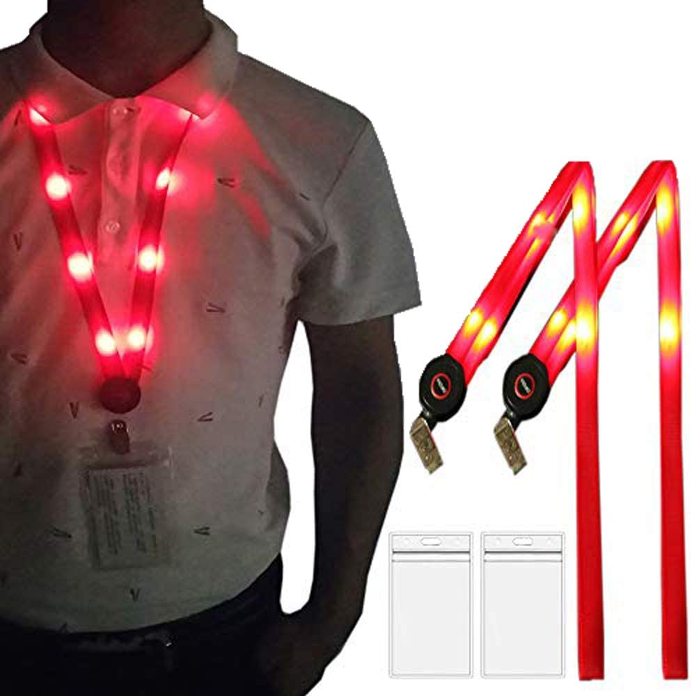 Glow Badge Lanyard Premium LED Lanyard Quality Smoothly for Skin-Friendly Comfort,3 Flashing Modes,for ID Cards Badges/Business ID/Keys/Employees/Students/Visitors/Factory Office Worker(2 Pack - Red)