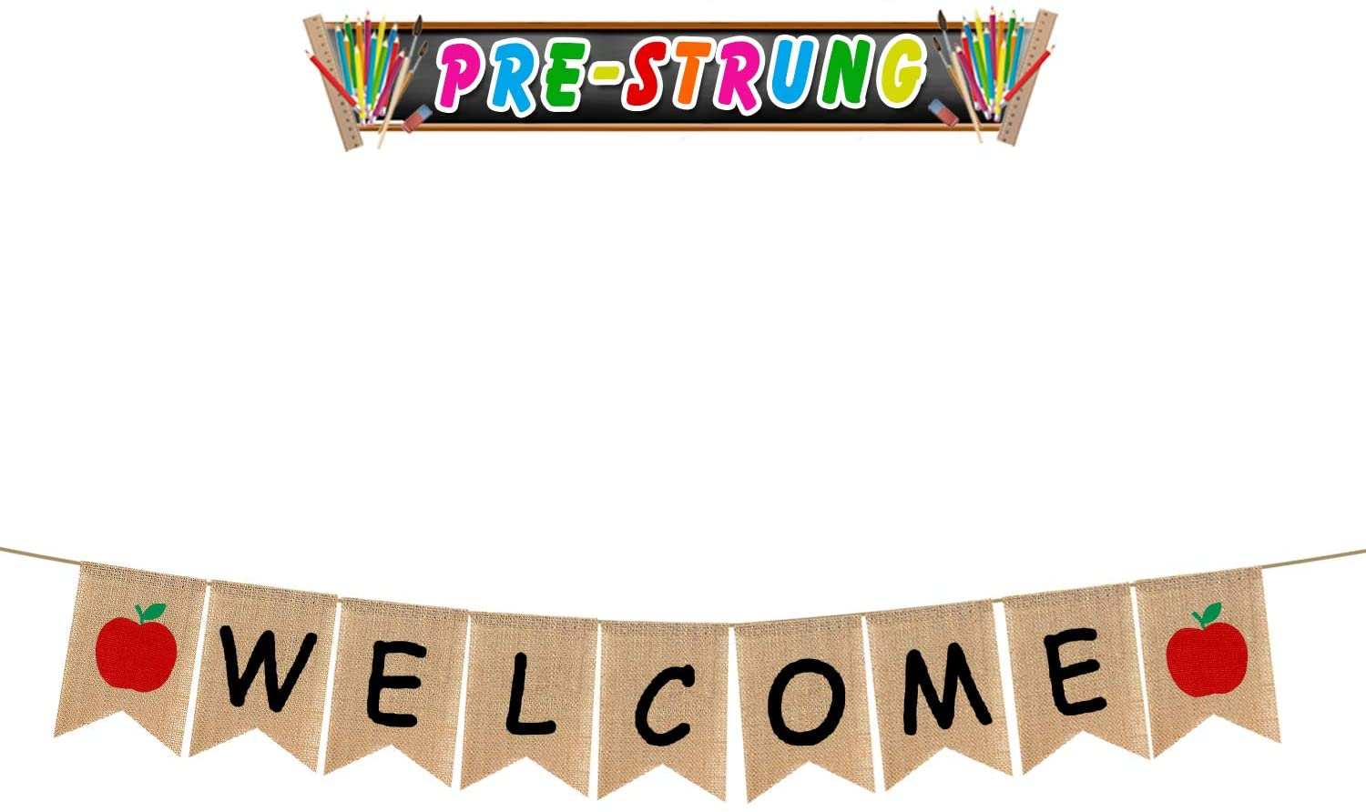 LINGTEER Welcome Party Decorations - Welcome Burlap Bunting Banner Kindergarten First Day of School Classroom Office Backdrop Sign.