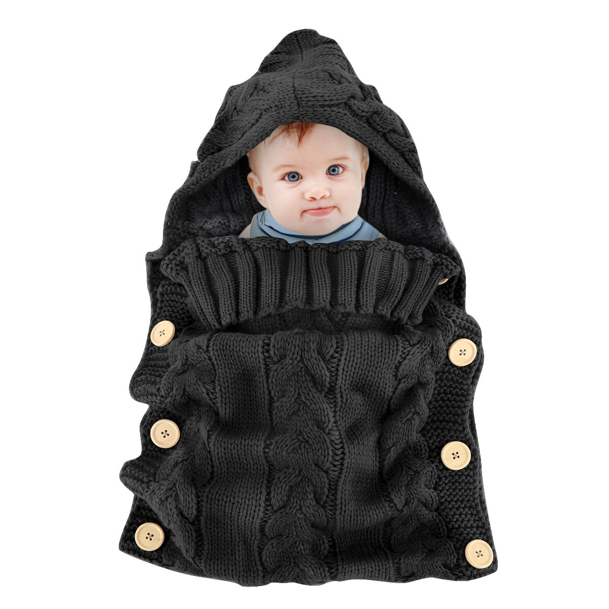 Colorful Newborn Baby Wrap Swaddle Blanket, Oenbopo Baby Kids Toddler Knit Blanket Swaddle Sleeping Bag Stroller Wrap for 0-12 Month Baby (Black)