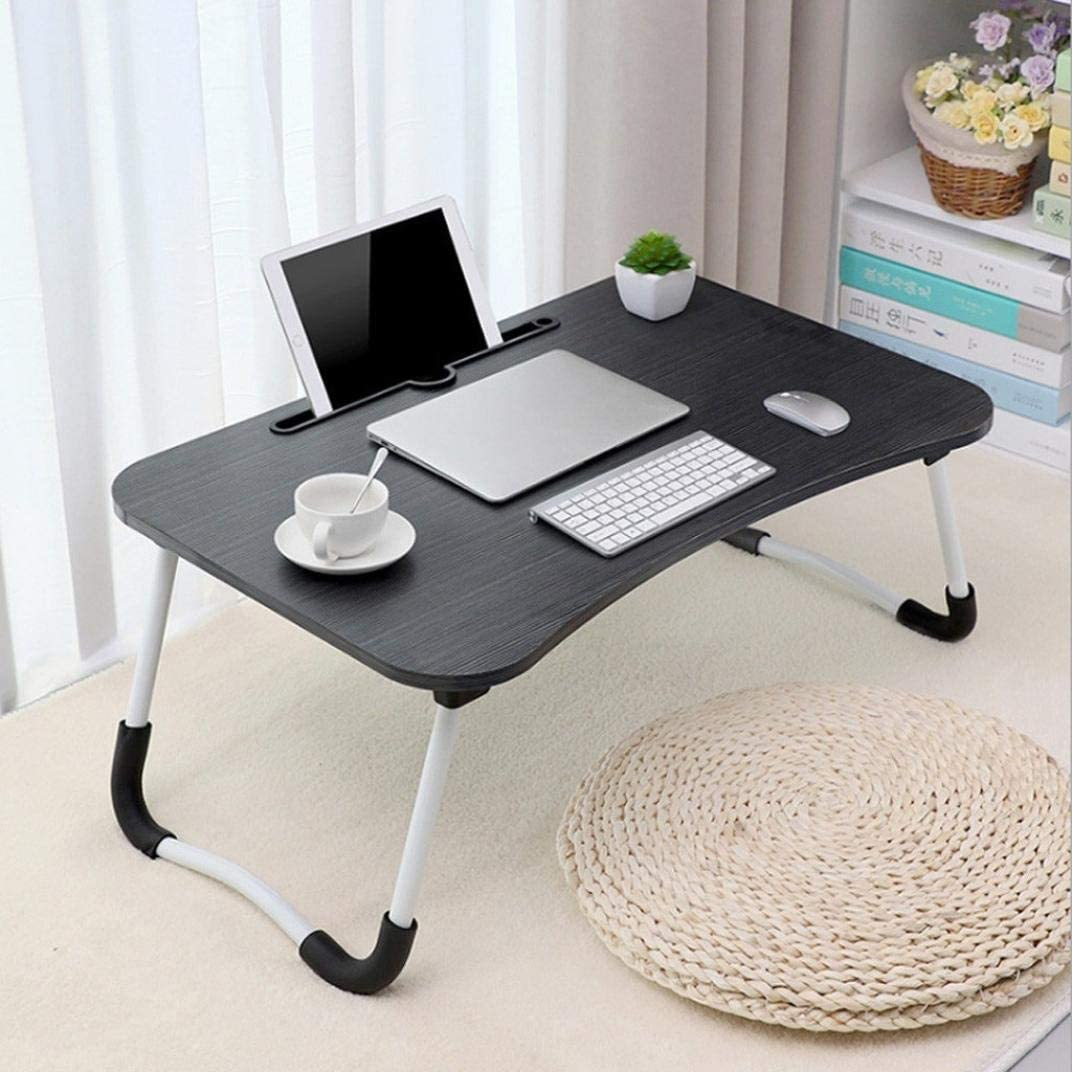 Laptop Desk Portable Bed Tray Table Notebook Stand Reading Holder Dorm Lap Desk with Foldable Legs for Eating Breakfast, Reading Book, Watching Movie on Bed/Couch/Sofa (Black - Simple Version)