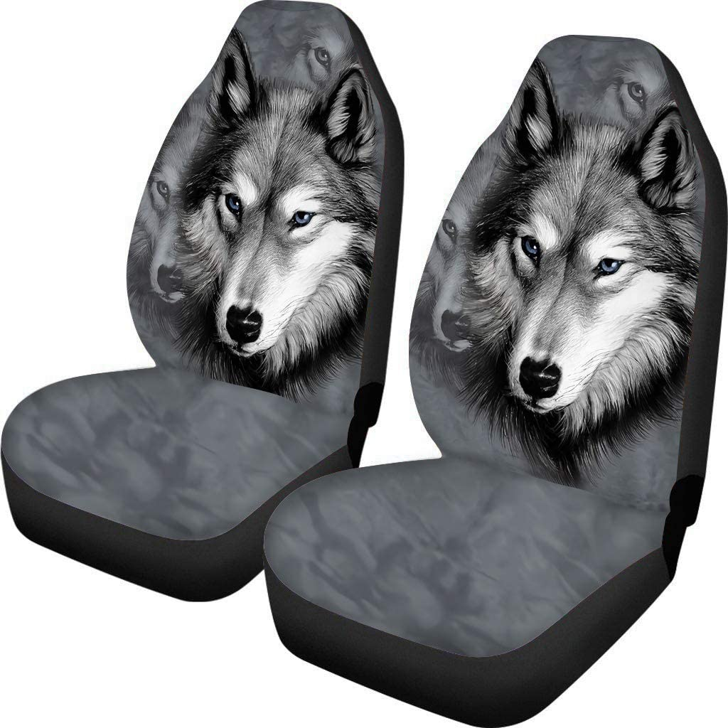 Spring Warner Front Seat Covers Grey Wolf Pattern 2 pcs, Vehicle Seat Protector Car Mat Covers, Fit Most Cars, Sedan, SUV, Vans,Trucks