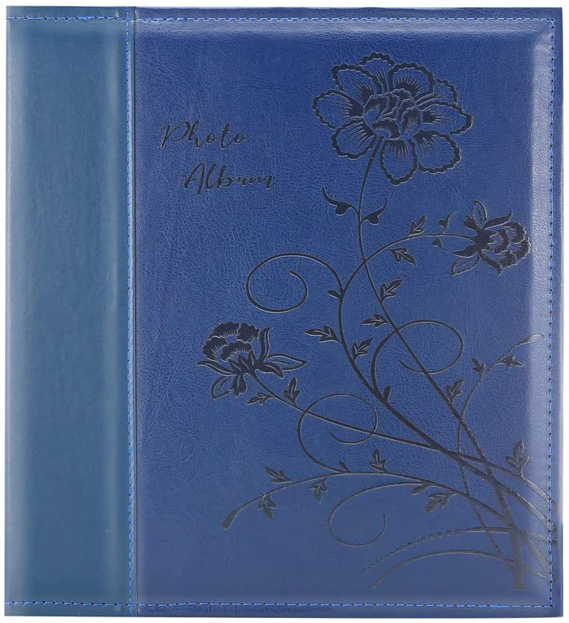 Artmag Photo Album 4x6 1000 Photos, Large Capacity Wedding Family Leather Cover Picture Albums Holds Horizontal and Vertical 4x6 Photos with Black Pages(Blue)