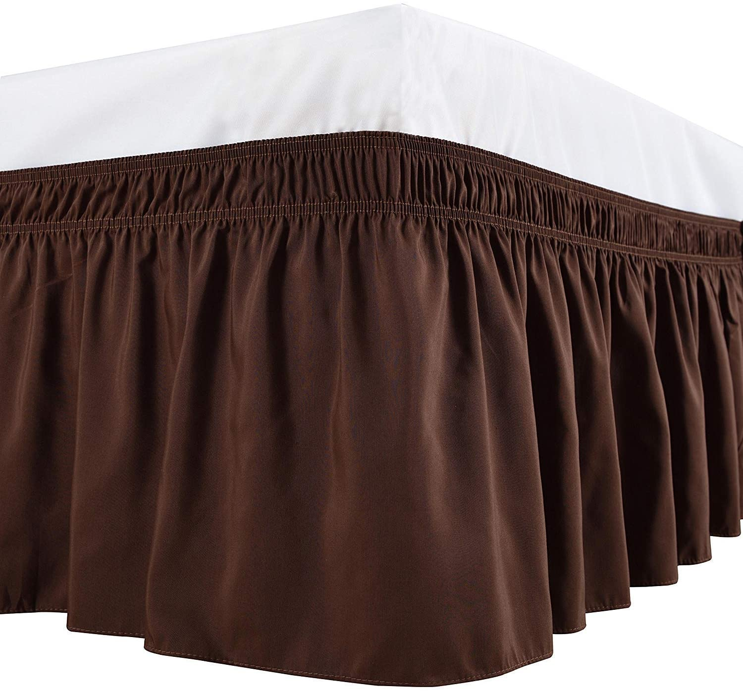 Elegant Linen Store 1 Wrap Around Bed Skirt, Elastic Dust Ruffles, Easy Fit Wrinkle and Fade Resistant Pattern Solid 100% Egyptian Cotton 650 TC, 19 inch Drop Length, Size Queen, Chocolate