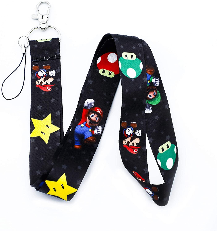 Lanyard Keychain Id Card Badge Holder Suitable for Super Mario Lover(Mushroom Super Mario LY)