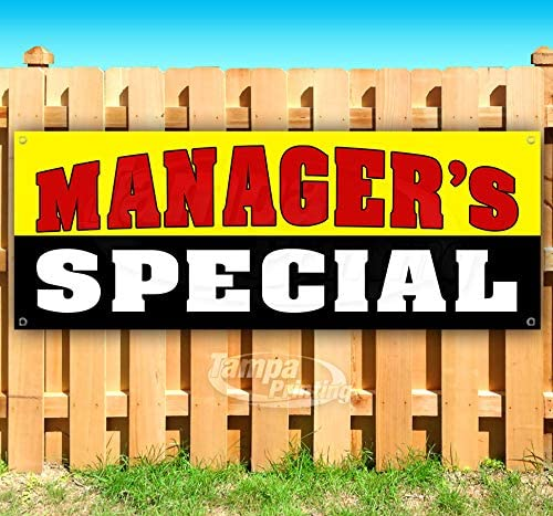 Managers Special 13 oz Heavy Duty Vinyl Banner Sign with Metal Grommets, New, Store, Advertising, Flag, (Many Sizes Available)