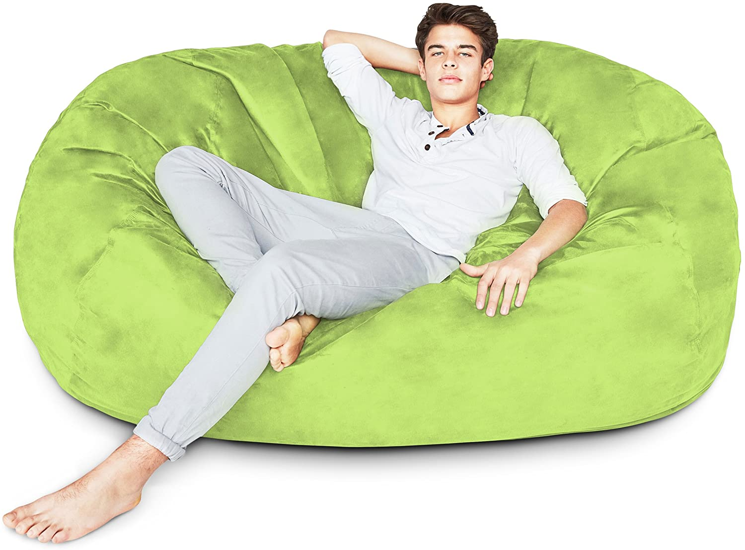 Lumaland Luxury 6-Foot Bean Bag Chair with Microsuede Cover Light Green, Machine Washable Big Size Sofa and Giant Lounger Furniture for Kids, Teens and Adults