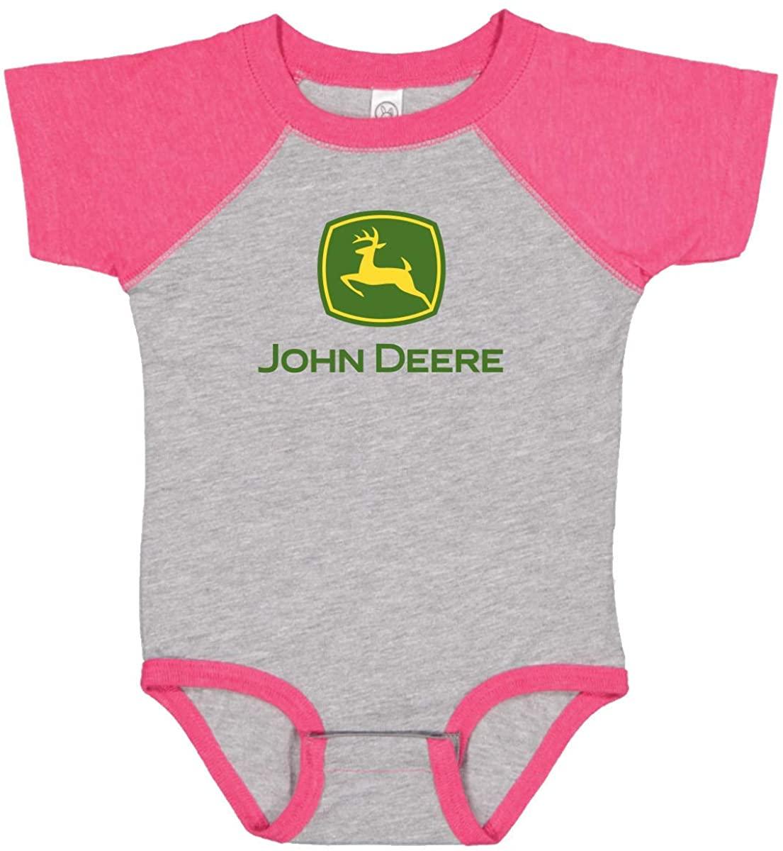 John Deere Baby Girl Logo One Piece Bodysuit Raglan-Oxford/Hot Pink